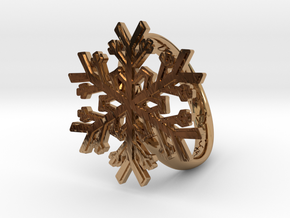 Snowflake Ring 1 d=19mm h35d19 in Polished Brass