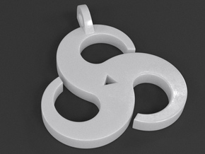 Triskelion Pendant 01 in White Strong & Flexible Polished