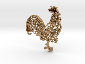 Rooster_Pendant in Polished Brass