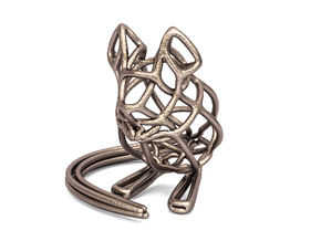 Mouse Wireframe keychain in Polished Bronzed Silver Steel