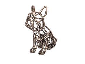 French Bulldog Wireframe Keychain (sitting) in Polished Bronzed Silver Steel
