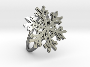 Snowflake Ring 1 d=19mm h21d19 in Fine Detail Polished Silver