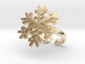 Snowflake Ring 1 d=19.5mm Adjustable h35d195a in 14k Gold Plated Brass