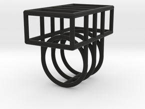 Space Ring: Square in Black Natural Versatile Plastic: Medium