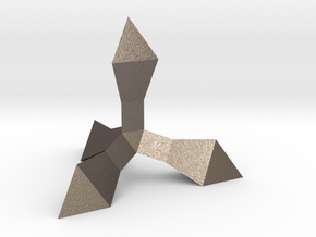 Caltrop 1 in Polished Bronzed Silver Steel