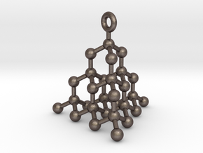 Molecule Pendant in Polished Bronzed Silver Steel