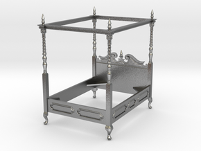 1:48 Four Poster Canopy Bed in Natural Silver