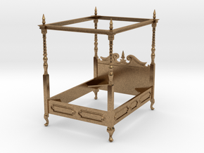 1:48 Four Poster Canopy Bed in Raw Brass
