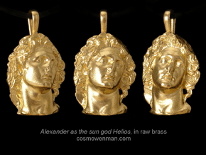 Alexander as the sun god Helios, pendant in Natural Bronze