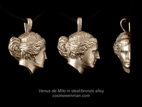 Steel Venus de Milo pendant in Polished Bronzed Silver Steel