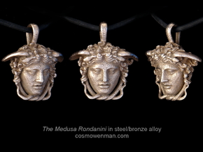 Steel Medusa Rondanini pendant in Polished Bronzed Silver Steel