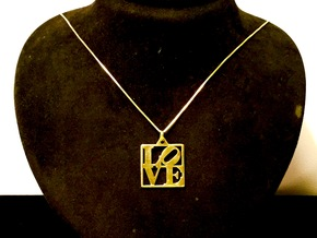 LOVE Pendant ROBERT INDIANA (Thinner Version) in Polished Brass