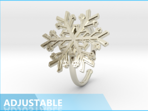 Snowflake Ring 1 d=19.5mm Adjustable h21d195a in 14k White Gold