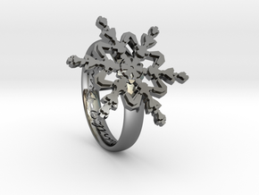Snowflake Ring 2 d=16.5mm h35d165 in Fine Detail Polished Silver