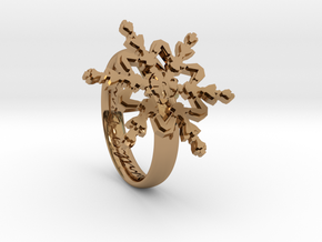 Snowflake Ring 2 d=16.5mm h35d165 in Polished Brass