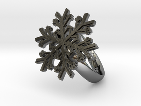 Snowflake Ring 1 d=16.5mm h35d165 in Fine Detail Polished Silver