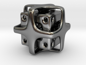 Holed Cube in Polished Silver
