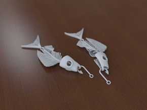 Fish bone earing in White Natural Versatile Plastic