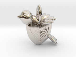 Valentine Bird in Rhodium Plated Brass