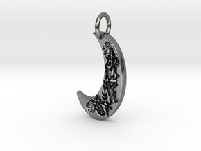 Floral moon  in Fine Detail Polished Silver
