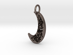 Floral moon  in Polished Bronzed Silver Steel
