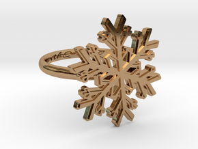 Snowflake Ring 1 d=16.5mm h21d165 in Polished Brass