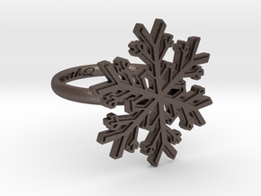 Snowflake Ring 1 d=16.5mm h21d165 in Polished Bronzed Silver Steel
