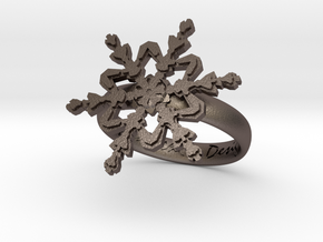Snowflake Ring 2 d=17.5mm h35d175 in Polished Bronzed Silver Steel