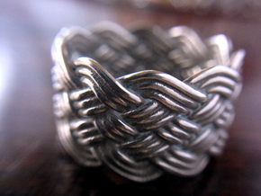 Turk's Head Knot Ring 6 Part X 10 Bight - Size 10 in Polished Silver