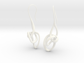 Treble Clef Earrings in White Processed Versatile Plastic