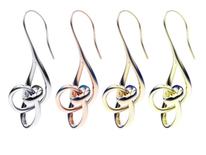 Treble Clef Earrings in 14K Yellow Gold