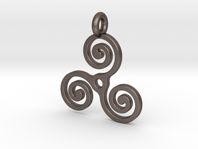 Triple Spiral in Polished Bronzed Silver Steel