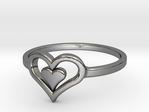 Heart Ring size 6 in Fine Detail Polished Silver