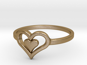 Heart Ring size 6 in Polished Gold Steel