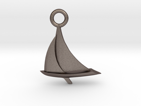 Sailboat Pendant in Polished Bronzed Silver Steel