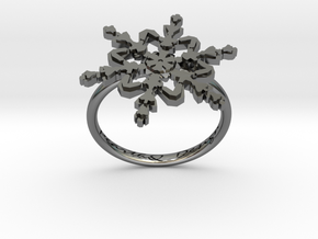 Snowflake Ring 2 d=17.5mm h21d175 in Fine Detail Polished Silver