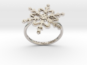 Snowflake Ring 2 d=17.5mm h21d175 in Rhodium Plated Brass