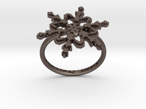 Snowflake Ring 2 d=17.5mm h21d175 in Polished Bronzed Silver Steel