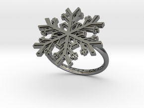 Snowflake Ring 1 d=17.5mm h21d175 in Fine Detail Polished Silver