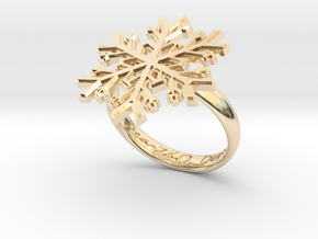 Snowflake Ring 1 d=18.5mm h35d185 in 14k Gold Plated Brass