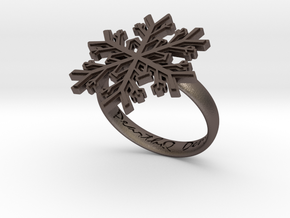 Snowflake Ring 1 d=18.5mm h35d185 in Polished Bronzed Silver Steel