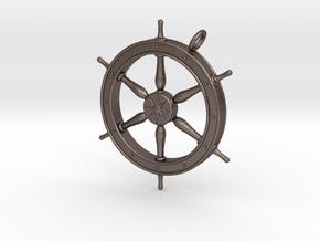 Ship's Wheel Pendant in Polished Bronzed Silver Steel