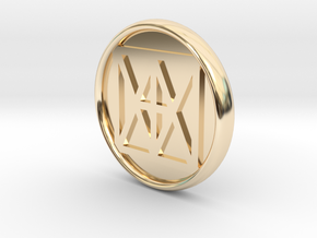 "Universal ""I AM"" 21mm Coin, solid center in 14k Gold Plated Brass"