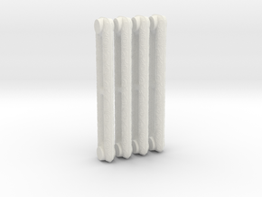 1:6 Decorative Radiator Parts - Middle Four Count in White Natural Versatile Plastic