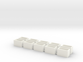 10 Pack Speaker Box Closed - 16mm x 9mm x 10mm  in White Processed Versatile Plastic