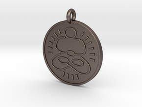 Meditation Pendant 1 in Polished Bronzed Silver Steel