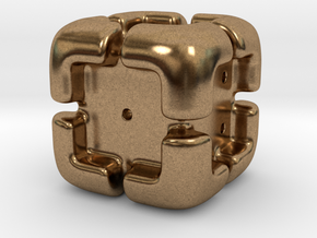 'Armored' D6 Die in Natural Brass