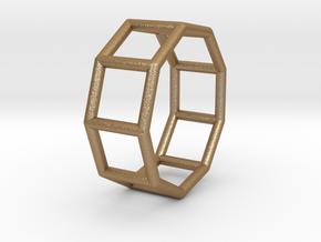 0427 Nonagonal Prism (a=1cm) #001 in Matte Gold Steel