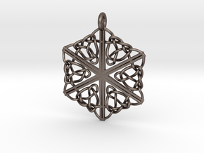 Dreamweaver Celtic Knot Hex in Polished Bronzed Silver Steel