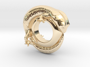 Gecko Ring     Size 5 in 14k Gold Plated Brass